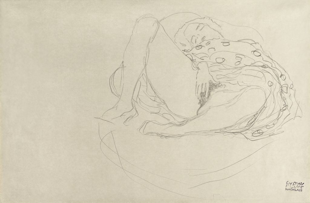 Reclining Nude with Drapery (ca. 1912–1913) by Gustav Klimt. Original from The MET Museum. Digitally enhanced by rawpixel.